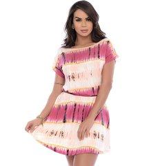 vestido acinturado b'bonnie decote canoa jade tie dye rosa - kanui