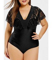 lace insert plus size convertible one-piece swimwear