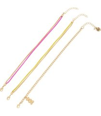 betsey johnson gummy bear charm colored chain anklet, set of 3