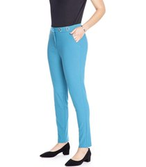 pantalon recto liso turquesa lorenzo di pontti