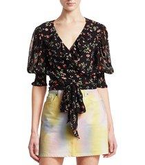 ganni women's paradise elm floral georgette wrap blouse - black - size 38 (6)