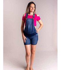 macaquinho jeans de gestante zoah ref. 5081 jeans azul claro - azul - feminino - dafiti