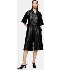 *black leather bermuda shorts by topshop boutique - black