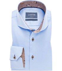 ledub overhemd blauw tailored fit stretch