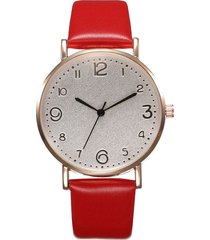 reloj pulsera cuarzo analogico mujer pulso cuero pu 023 rojo