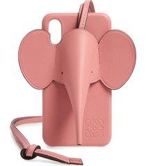 loewe elephant iphone x/xs case & crossbody strap - pink