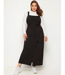 plus tamaño negro con cinturón correa cruzada vestido