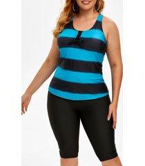 plus size striped tank top and shorts two piece tankini swimwear