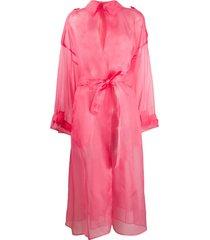 dolce & gabbana organza tie fastening sheer coat - pink
