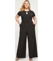 lane bryant women's lena faux-wrap keyhole jumpsuit 26p black