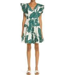 women's la doublej honeybun tiered poplin cover-up dress, size large - green (nordstrom exclusive)