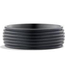 david yurman royal cord wide band ring, size 11 in black titanium at nordstrom