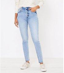 loft curvy high waist skinny jeans in authentic light indigo wash
