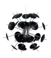 lustre pendente sputnik atom orbit - escovado e preto