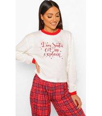 mix & match dear santa pyjama top, white