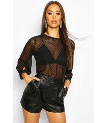 dobby mesh bow sleeve blouse, black