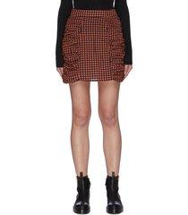 seersucker check ruched mini skirt