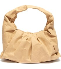 'the shoulder' gathered leather small pouch bag