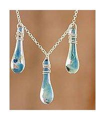 glass pendant necklace, 'crystalline summer' (costa rica)