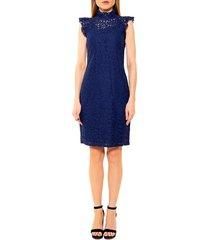 alexia admor women's kendall lace cap-sleeve sheath dress - navy - size l