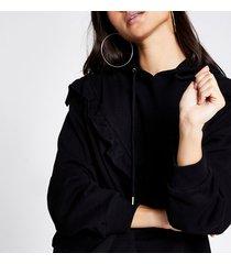 river island womens petite black frill chevron ribbed crop hoodie
