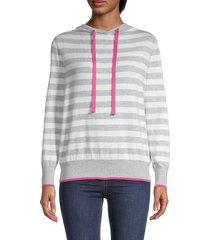 central park west women's stripe hoodie - heather grey - size xs