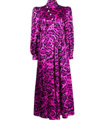 alessandra rich leopard-print cocktail dress - pink