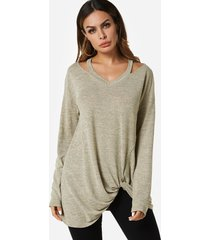 apricot knotted long sleeves t-shirt