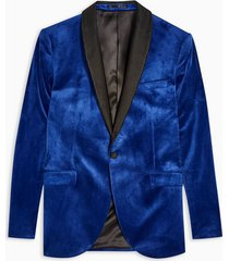 mens blue skinny fit single breasted velvet blazer with satin covered shawl lapel