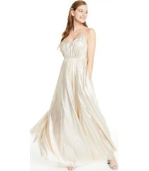 city studios juniors' metallic foil rhinestone-waist gown, created for macy's