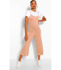 t-shirt & cami jumpsuit 2 in 1 set, camel