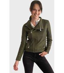 chaqueta desigual verde - calce ajustado