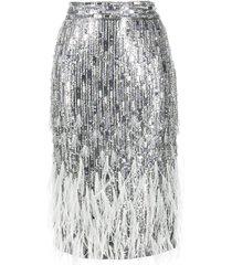 amen bead-embellished pencil skirt - silver