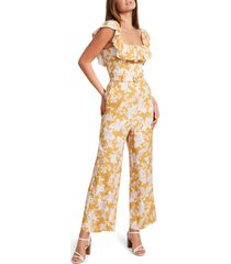 women's ever new samantha floral frill belted jumpsuit