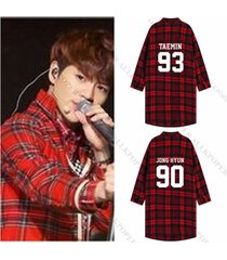 kpop shinee red plaid shirt women three-quarter sleeve blouse overshirt coat