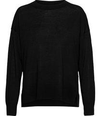 wool silk c-nk sweater ls stickad tröja svart tommy hilfiger