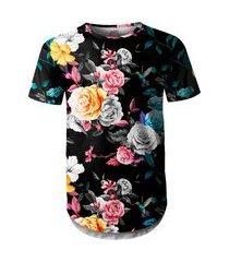 camiseta masculina longline swag floral jardim e beija-flor