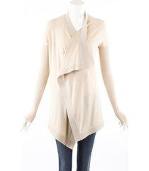 givenchy beige stretch knit draped cardigan sweater beige sz: custom