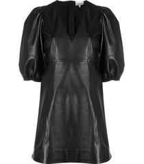 ganni puff sleeve leather dress - black