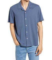 men's rag & bone avery knit short sleeve button-up camp shirt, size large - blue