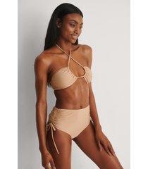 na-kd swimwear återvunnen bikinibyxa med hög midja - beige