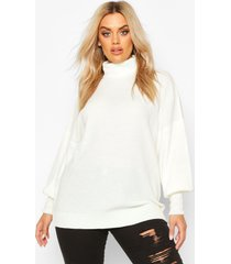 plus knitted balloon sleeve high neck sweater, cream