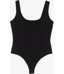 womens gimme the scoop plus ribbed bodysuit - black