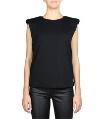 padded shoulder sleeveless top