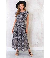 maxi panterprint jurk zwart wit