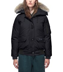 women's canada goose chilliwack hooded down bomber jacket with genuine coyote fur trim, size x-large (16-18) - blue