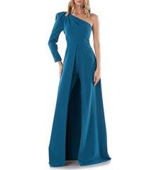 women's kay unger lola one-shoulder maxi romper, size 12 - blue