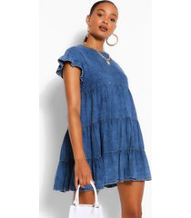 gesmokte chambray jurk met ruches, mid blue