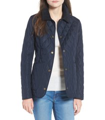 women's barbour spring annandale quilted jacket, size 16 us - blue