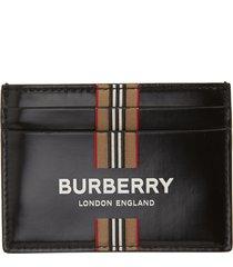 men's burberry sandon icon stripe & logo coated canvas card case -